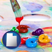 utah colorful oil paints and paintbrush