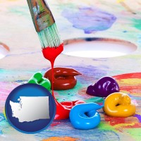 washington colorful oil paints and paintbrush