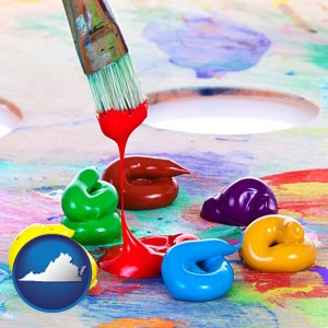 colorful oil paints and paintbrush - with Virginia icon