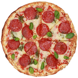 a pepperoni pizza