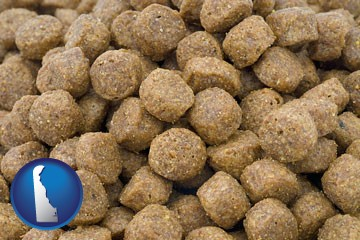 a pet food macro photo - with Delaware icon