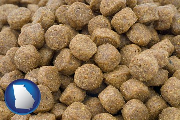 a pet food macro photo - with Georgia icon