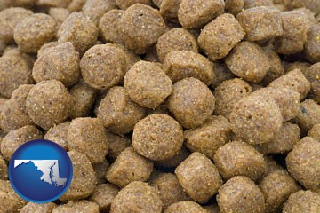a pet food macro photo - with Maryland icon