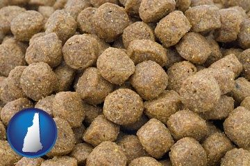 a pet food macro photo - with New Hampshire icon