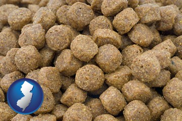a pet food macro photo - with New Jersey icon