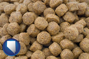 a pet food macro photo - with Nevada icon