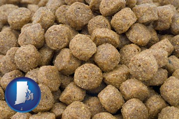 a pet food macro photo - with Rhode Island icon