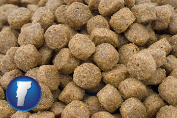 a pet food macro photo - with Vermont icon