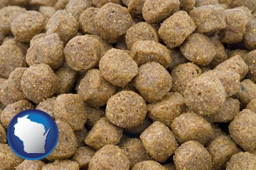 a pet food macro photo - with Wisconsin icon