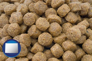a pet food macro photo - with Wyoming icon
