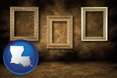 louisiana three gilded picture frames