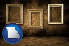missouri three gilded picture frames