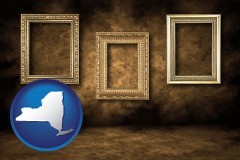 new-york three gilded picture frames