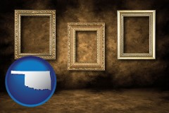 oklahoma three gilded picture frames
