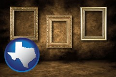 texas three gilded picture frames