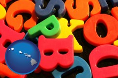 hawaii colorful plastic letters