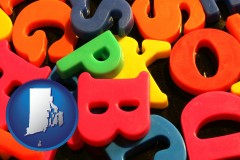 rhode-island colorful plastic letters