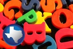 texas colorful plastic letters