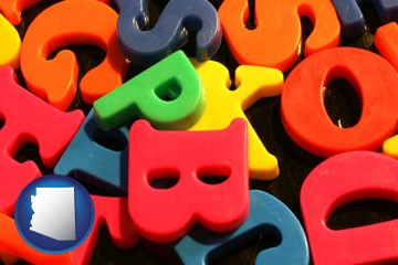 colorful plastic letters - with Arizona icon