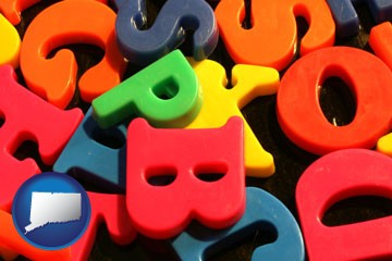 colorful plastic letters - with Connecticut icon