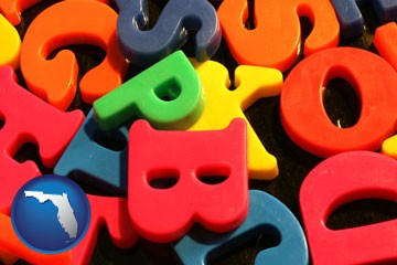 colorful plastic letters - with Florida icon