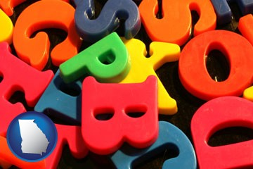 colorful plastic letters - with Georgia icon