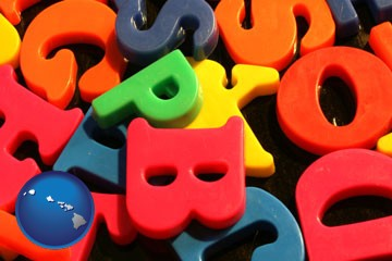 colorful plastic letters - with Hawaii icon