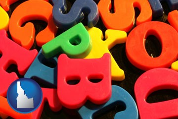 colorful plastic letters - with Idaho icon