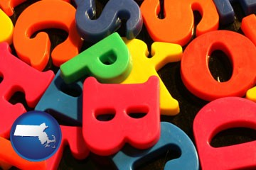colorful plastic letters - with Massachusetts icon