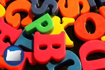 colorful plastic letters - with Oregon icon