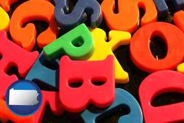 colorful plastic letters - with Pennsylvania icon
