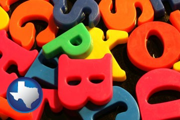 colorful plastic letters - with Texas icon