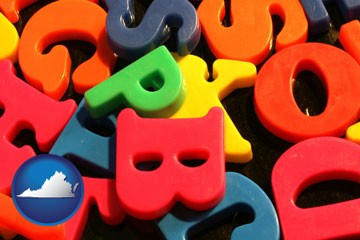 colorful plastic letters - with Virginia icon