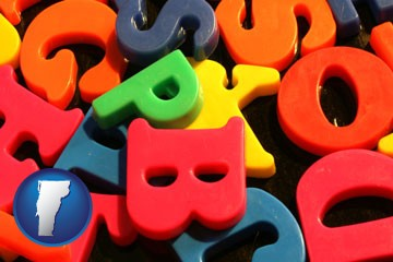 colorful plastic letters - with Vermont icon