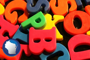 colorful plastic letters - with Wisconsin icon