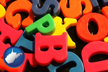 colorful plastic letters - with West Virginia icon