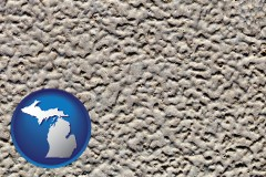 michigan map icon and molded plastic surface material