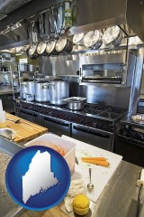 maine map icon and a restaurant kitchen
