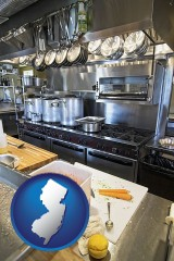 new-jersey map icon and a restaurant kitchen