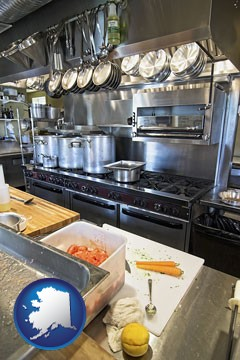 a restaurant kitchen - with Alaska icon