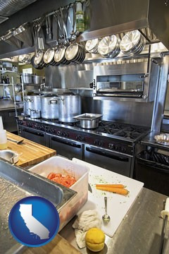 a restaurant kitchen - with California icon