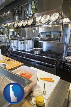 a restaurant kitchen - with Delaware icon