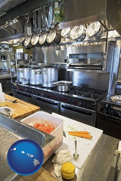 a restaurant kitchen - with Hawaii icon