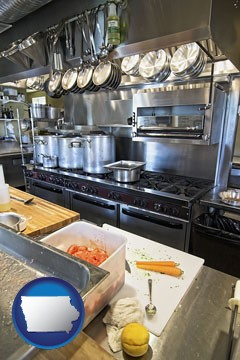 a restaurant kitchen - with Iowa icon