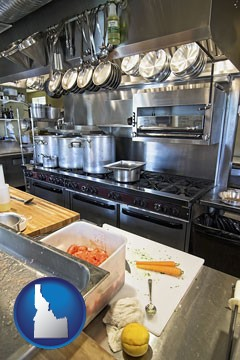 a restaurant kitchen - with Idaho icon