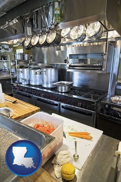 a restaurant kitchen - with Louisiana icon
