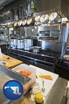 a restaurant kitchen - with Maryland icon
