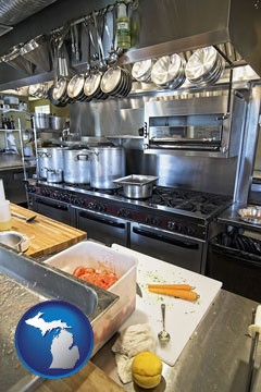 a restaurant kitchen - with Michigan icon