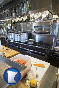a restaurant kitchen - with Minnesota icon