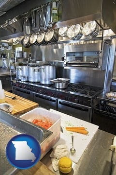 a restaurant kitchen - with Missouri icon